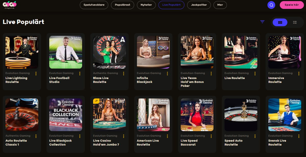 GoGo Casino har ett mycket bra livecasino