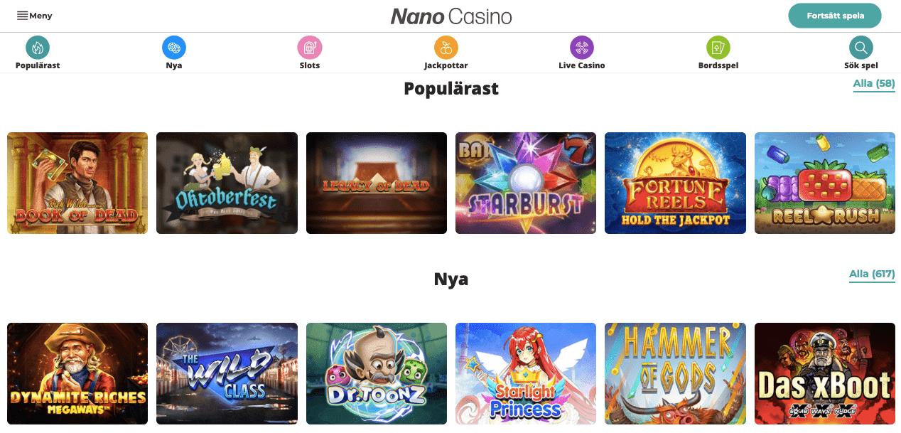 Nano casino lobby